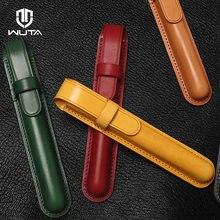 WUTA orijinal el yapımı kalem kutusu kapak sebze tabaklanmış deri yüksek kalite süper sınıf iş kalem cüzdan Unisex