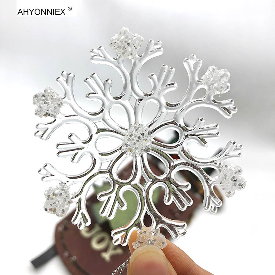 1 PC Transparent Acrylic Ice Crystal Snowflake Christmas Tree Decorations X-mas Tree Hanging Ornament Adornments For Party