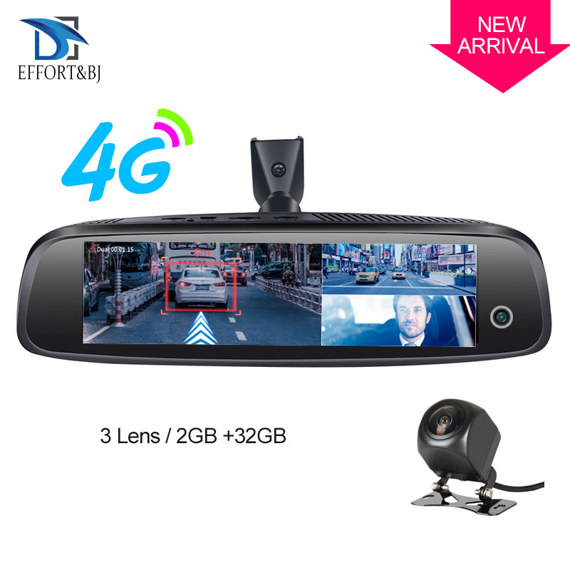 Effort&BJ Three videos <font><b>Mirror</b></font> Cameras 2GB+32GB <font><b>Dash</b></font> <font><b>Cam</b></font> <font><b>4G</b></font> Android HD 1080P Auto Camera GPS WIFI ADAS Car DVR with Rear View image
