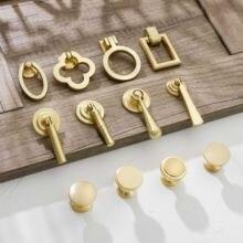 Gold Schrank Zieht Solide Zink-legierung Küche Schrank Einzigen loch für nachttisch Griff Schublade Knöpfe Möbel Griff Hardware