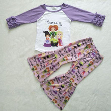 цены Children baby girl clothing outfits spell girl top with pants children kids boutique clothes