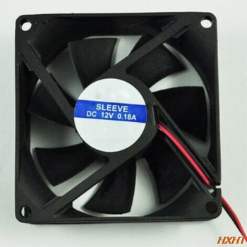 DC 12V black 80mm square plastic cooling fan for computer PC case cooling fan 2 pieces lot computer pc case dc cooling fan 5 volt 35mm dupont connector