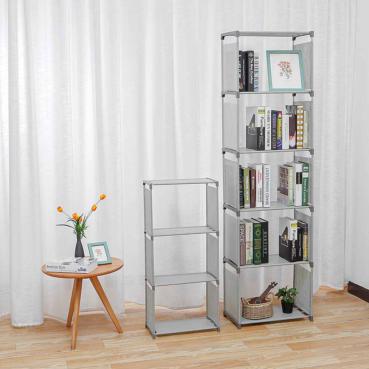 4/6 Tiers Cube Bookshelf Storage Shelves Standing Cabinet Display Rack Living Room Organizer Office Bookcase Home Furniture