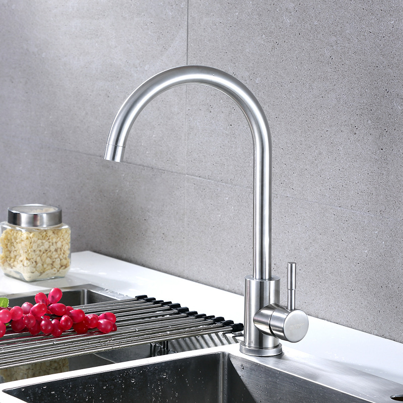 304 Stainless Steel Kitchen Faucet Big Bend Rotating Cold Kitchen Faucet Big Bend Leading Rotatable Egypt Us And