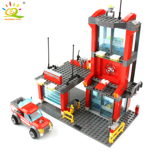 Image 2 - HUIQIBAO 300 sztuk miasto straż pożarna klocki strażak człowiek figurki ciężarówka budowa samochodu cegły zabawki dla dzieci prezent