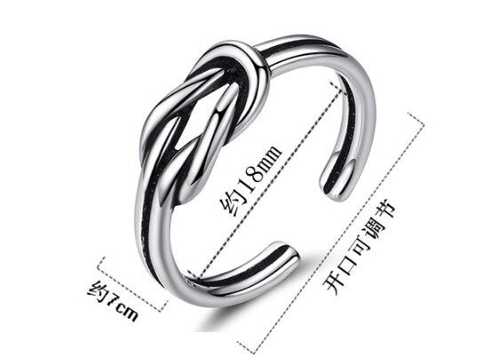 Jclowsexy חדש 925 סטרלינג כסף בציר טבעת קשת קשר טבעות תאילנדי כסף פתיחת טבעות לנשים Bague Anillos