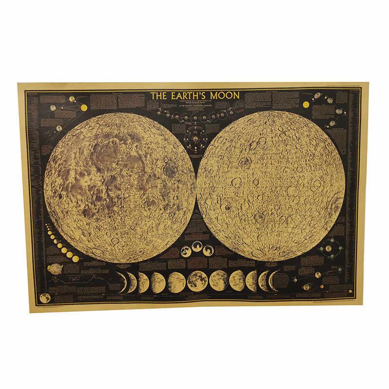 Póster con mapa de la ciudad en inglés, 1 Uds., 72,5x48cm, superficie de la Luna Negra, imagen irreal, pegatina Retro para pared, póster decorativo, mapa de papel Kraft