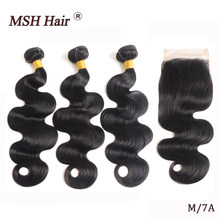 MSH Hair Brazilian Body Wave 3 Bundles With Closure Human Hair Weaves Non-Remy Hair Bundles With Lace Closure Medium Ratio(China)
