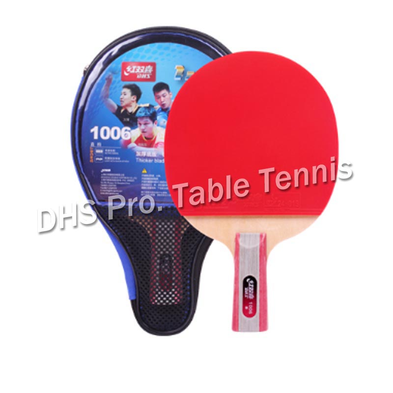 Original New Version DHS Table Tennis Racket (1002, 1006) With Rubber (pips-in) + Bag Case 1-Star Set Ping Pong Bat
