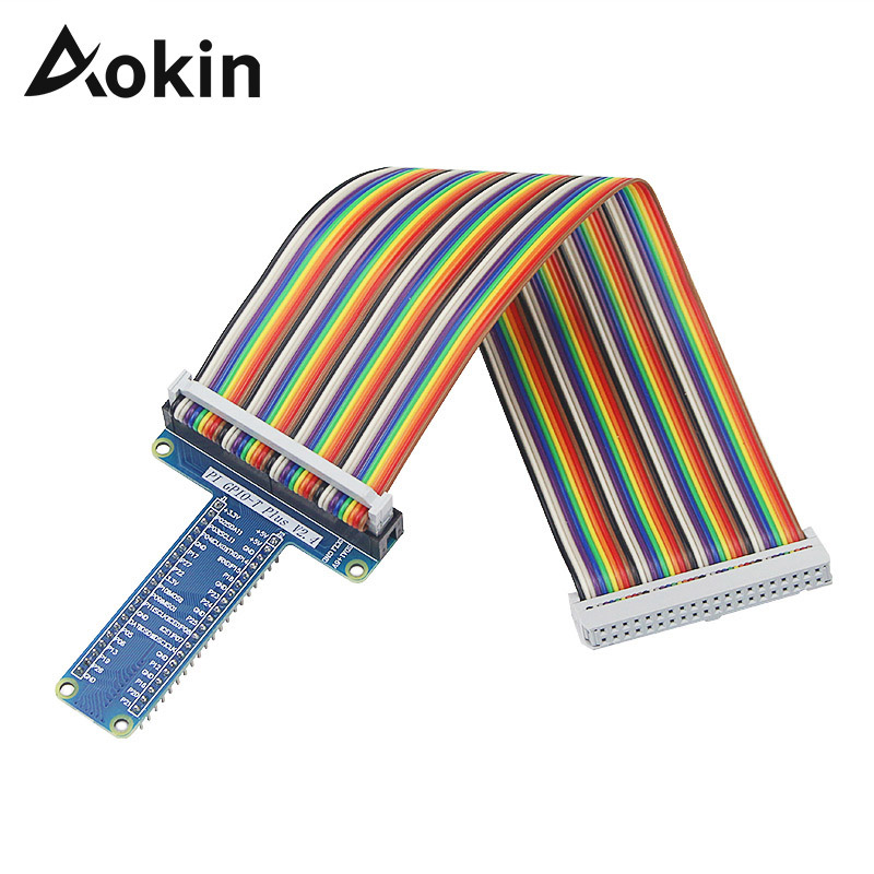 Aokin Raspberry Gpio T Type Expansion Board With 40 Pin Gpio Female To Female Rainbow Cable For Raspberry Pi3 3B/ 2 Model B+