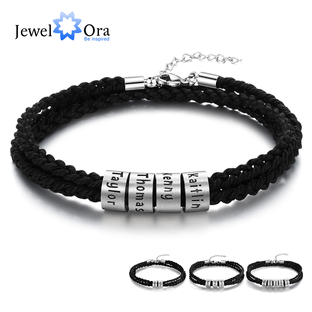 JewelOra Personalized Stainless Steel Custom Name Beads Bracelet Adjustable Multilayer Braided Rope Men Bracelets Dad Gift