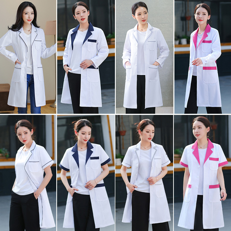 Medical Surgical Clothes White Coats Beauty Salon Workwear Nurse Long Section Uniforms Women Hospital Doctor Clothing Lab Coats