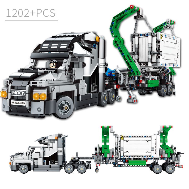 1202PCS Container Truck Vehicles Car Building Blocks Technic DIY Bricks Educational Toys for Children Gifts