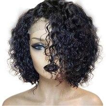13*6 głębokie rozstanie koronki przodu włosów ludzkich peruki kobiet Pre oskubane malezyjskie włosy typu remy kręcone peruki z krótkim bobem pełna koniec koronki przodu peruka