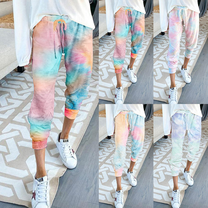 Tie Dye Patalon Femme Streetwear Pants Women Capris Moda Mujer 2020 Drawstring Home Casual Ladies Pants Stacked Sweatpants 2XL