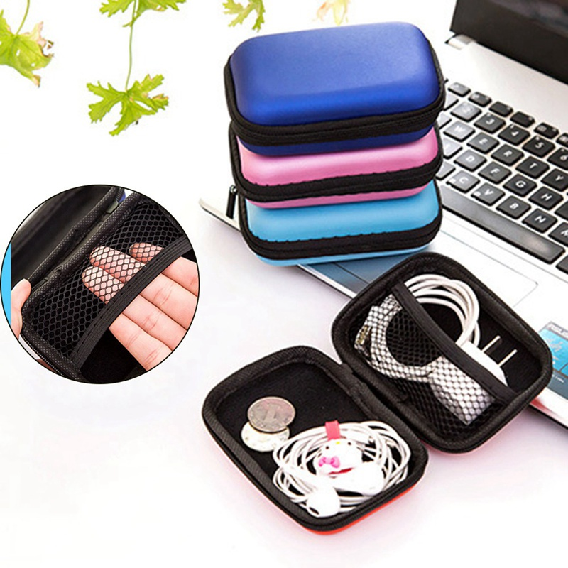 1PCS Hot Sale Women Men Round Key Coin Headset Box Headphone Earbud Wallet Zip Purse Portable Bag Data Line Cables Storage Box