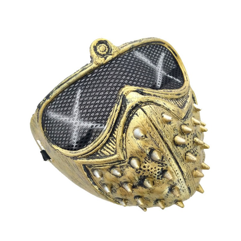 Halloween Mysterious Stage Masks With Rivets Cool Street Style For Man Black Gold Party Face Plastic Mask Accessories 4
