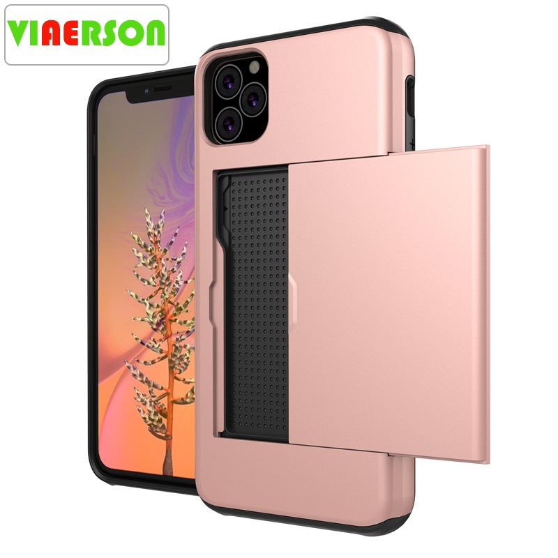 VIAERSON Spigen Slim Armor High Shockproof TPU PC Cell Phone Cases with Card Slot for iPhone 11 Pro Max X XS XR 8 7 6 6S Plus image