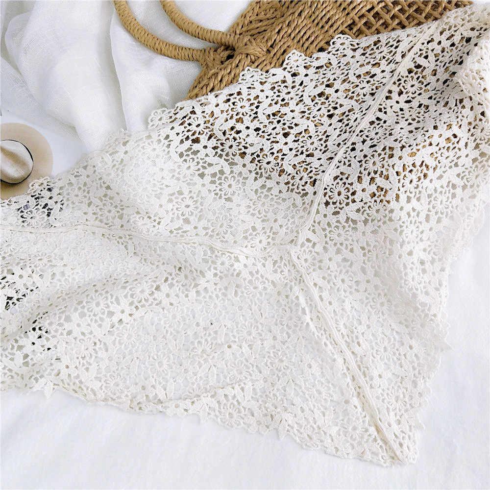 وشاح حجاب نسائي دانتيل شفاف منسوج بالورود شال مفرغ من الكروشيه يلتف بشراشيب أوشحة للحفلات المسائية A014