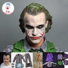 """1/6 Scale Joker Head Sculpt Heath Ledger Male Joker Clothes for 12"""" DIY Action Figures"""
