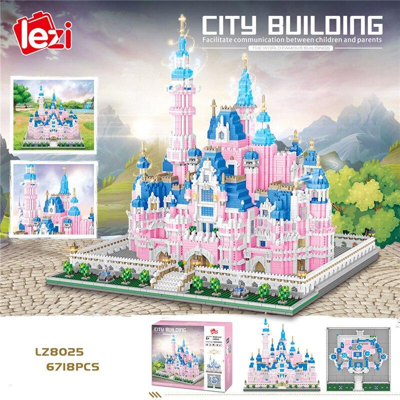 LZ8025 архитектура парк развлечений Розовая Принцесса замок 3D модель 6718 шт мини алмазные блоки кирпичи строительные игрушки для детей