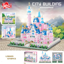 LZ8025 Architecture Amusement Park Pink Princess Castle 3D Model 6718pcs Mini Diamond