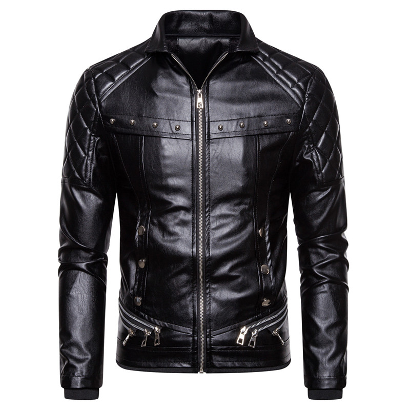 New Men's Biker Leather Jacket Fur Collar Detachable Faux Leather Motocycle Jackets Coats Casual PU Jacket Chaqueta Moto Hombre