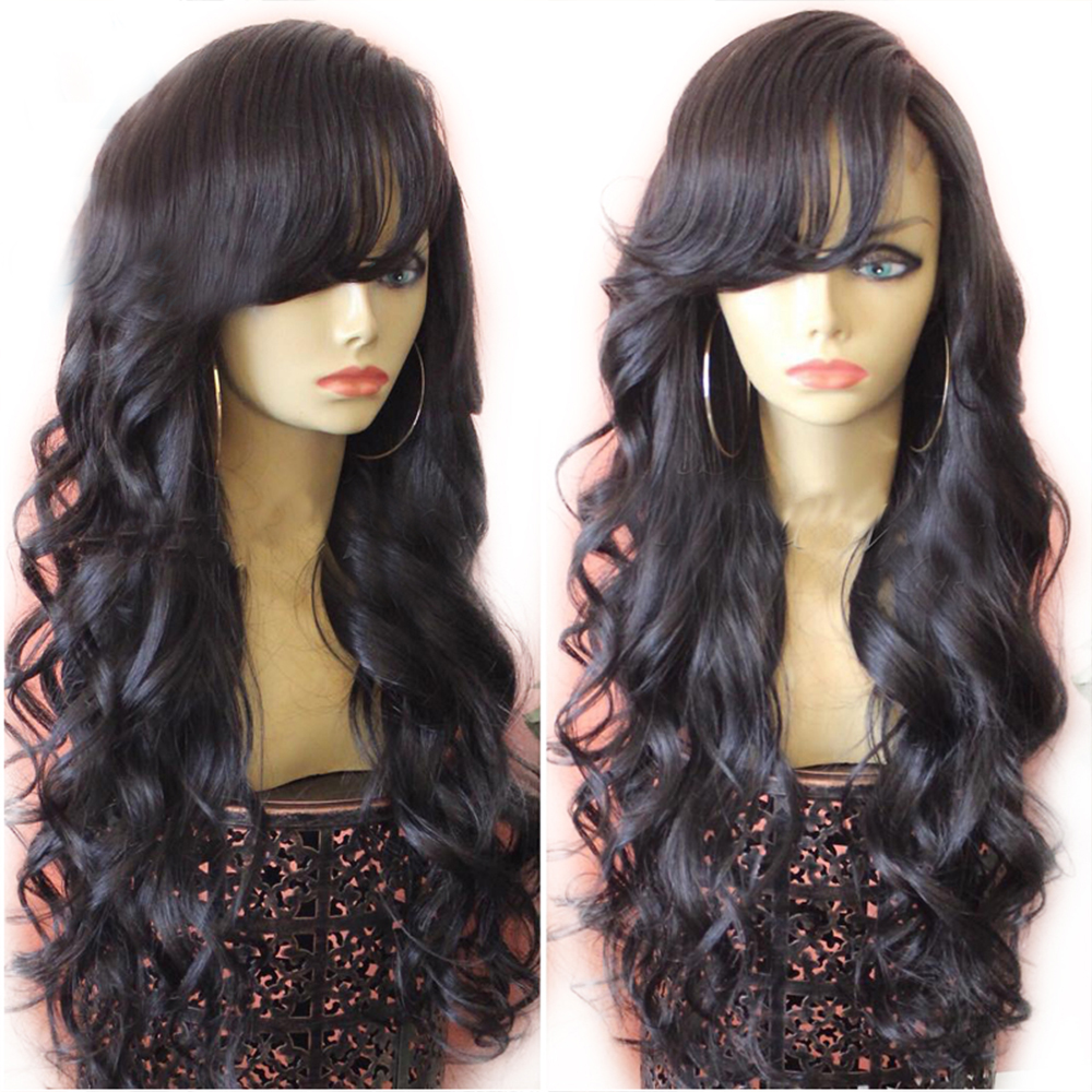 Eversilky 13x4 Lace Front Wig With Bangs Long Body Wave Peruvian Remy Human Hair Wigs With Baby Hair Pre Plucked Side Fringe Wig