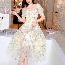 Summer Chiffon Elegant Kawaii Dress Women Floral Print Sweet Princess Casual Midi Dress Female Puff Sleeve Party Holiday Dress