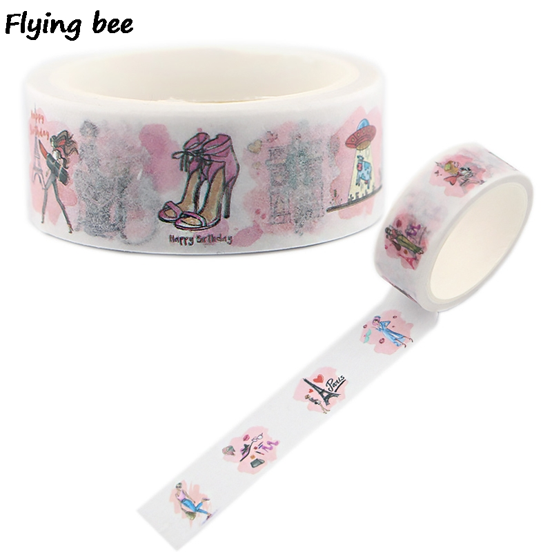 Flyingbee 15mmX5m Paris Washi Tape Paper DIY Decorative Adhesive Tape Stationery Women Fashion Masking Tapes Supplies X0504