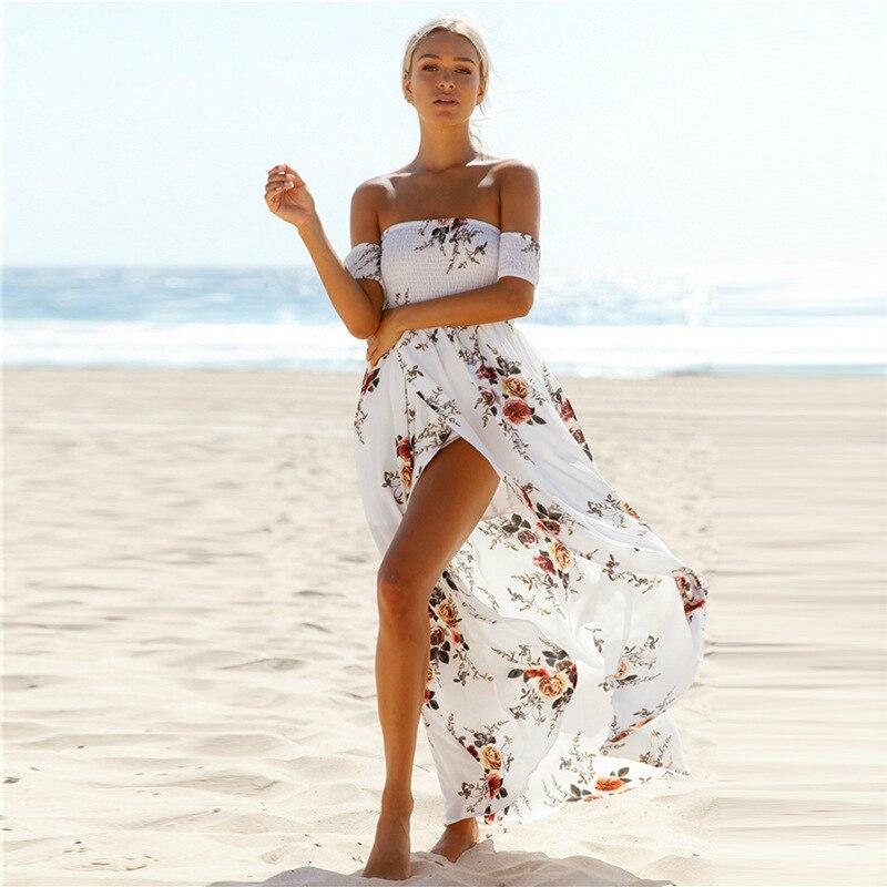 NEDEINS 2020 Women Sexy floral Dress Summer Split  Maxi Beach Sundress Off Backless Dress Boho Long Dresses Vestidos Femme 3
