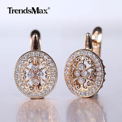 New Hollow Flower Drop Earrings 585 Rose Gold Color Natural White Cubic Zircon Trendy Women Round Earring GE290