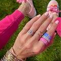 Неоновая эмаль CZ выложенные инициалы 26 алфавит Diy имя кольцо для женщин классические модные ювелирные изделия обручальное кольцо CZ кольцо н...