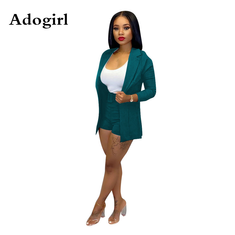 Women Office Business Suits Cardigan Blazer Coat And Shorts Slim Full Sleeve Two Piece Set Club Wear Outfits High Street Outwear