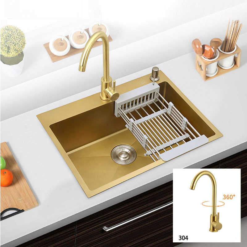 304 Stainless Steel Sinks Kitchen Sink With Faucet Nano Sink Thickening Gold Single Slot Washing Bowl Basin Wx11191820 Kitchen Sinks Aliexpress