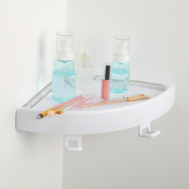 Bathroom Shelf Qrganizer Corner Shelf Caddy Bathroom Plastic Snap up Corner Shelf Shower Storage Wall Holder Shampoo Holder image