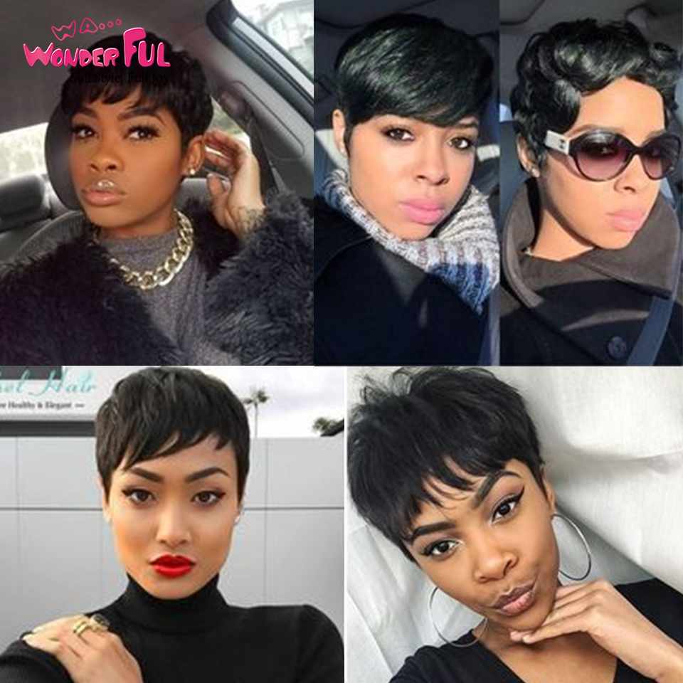 Full Machine Made Wig Mix Color Short Wavy Wig Brazilian Human Hair Wigs For Black Women Brown Red 99J Natural Wave Wig