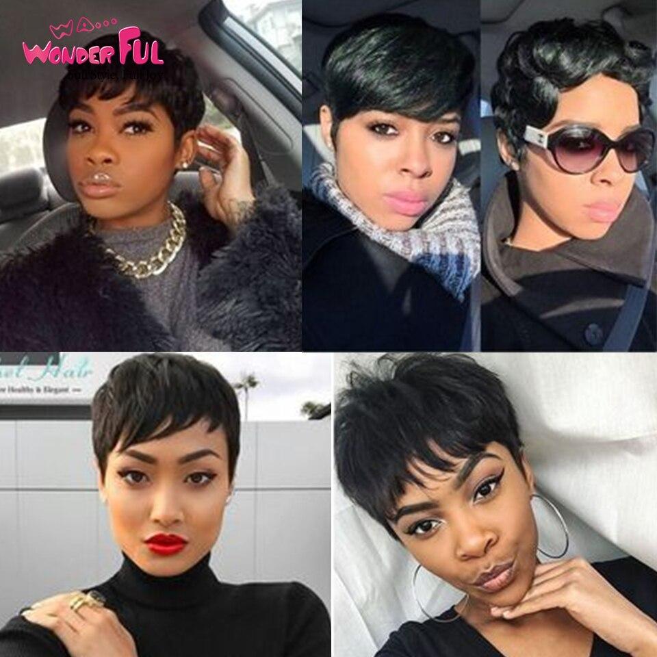 Wa...Wonderful Mix Color Short Wavy Wig Brazilian Human Hair Wigs For Black Women Brown Red 99J Natural Wave Wig Free Shipping