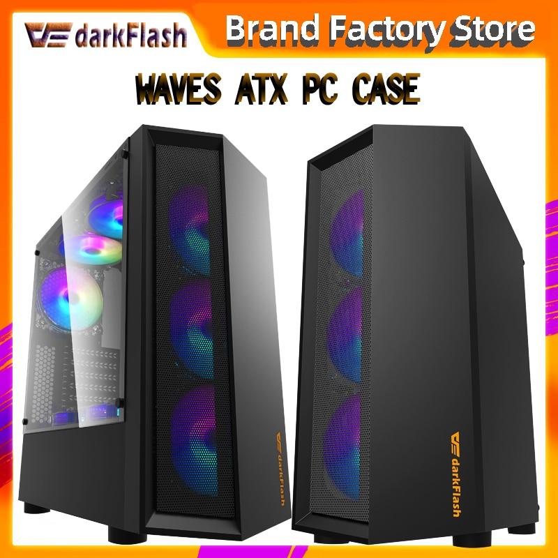 Darkflash atxデスクトップコンピュータケースdiy防塵ミュートゲーミングキーボードtransparenアクリルgabinete pcケースゲーマーmidタワーシャーシ