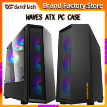 Darkflash atx desktop computador caso diy dustproof mudo gaming transparen acrílico gabinete pc caso gamer mid tower chassis