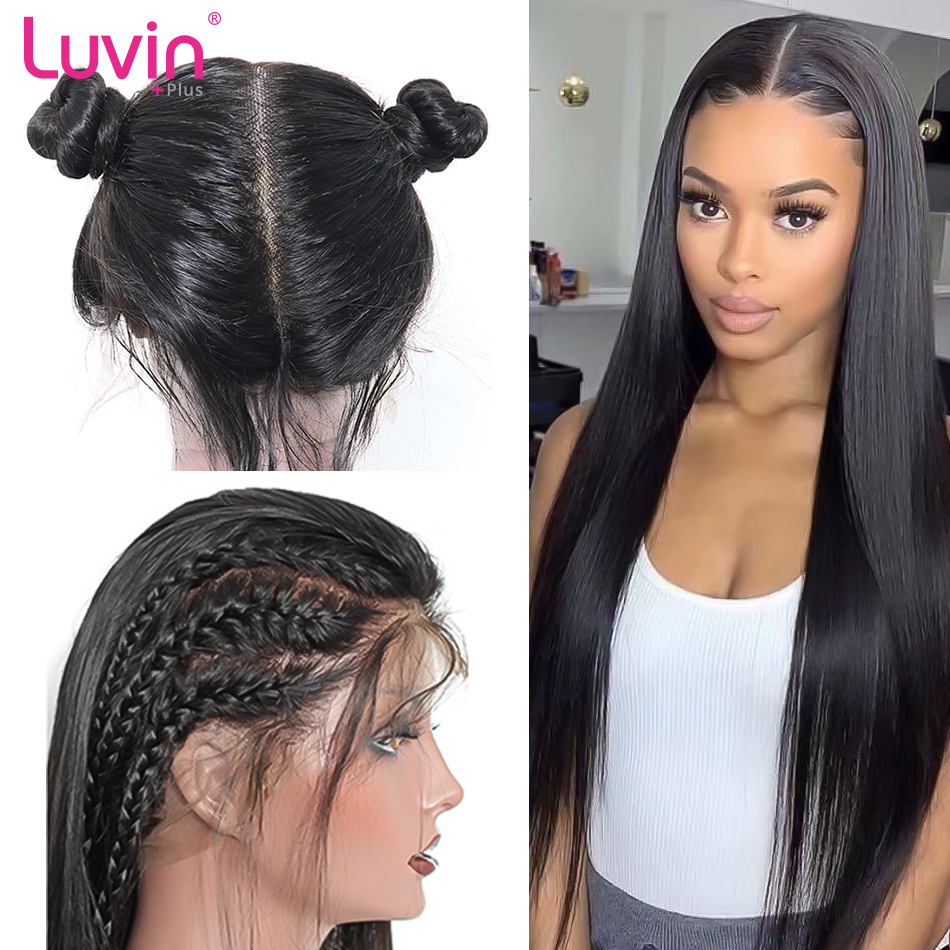 <font><b>Luvin</b></font> <font><b>Hair</b></font> Full Lace Human <font><b>Hair</b></font> Wigs With Baby <font><b>Hair</b></font> Pre Plucked Brazilian Straight Full Lace Wigs for women image