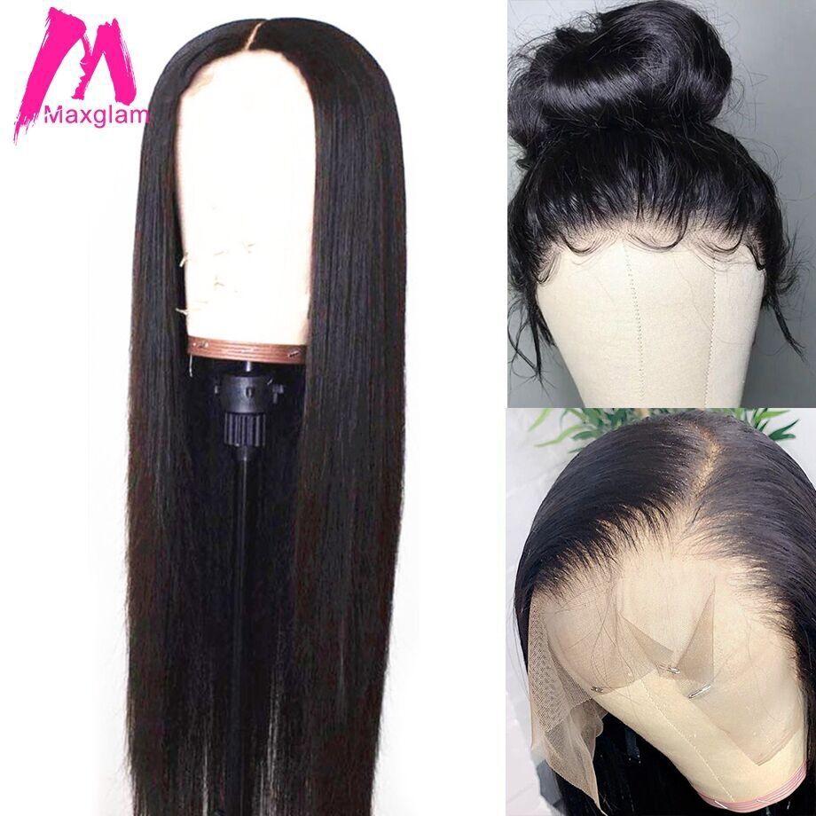 Dentelle avant perruques de cheveux humains pour les femmes noires perruque droite Remy cheveux preplumés avec des cheveux de bébé 13X6 13X4 130 densité Maxglam