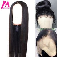 Maxglam 13x6 Transparent Lace Front Human Hair Wigs For Black Women Brazilian Straight Wig Pre Plucked
