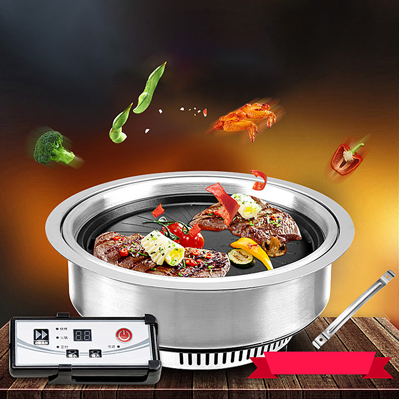 Stainless Steel Barbecue Pan Grill Stove Plate Cooking BBQ Iron Smokeless Non-St