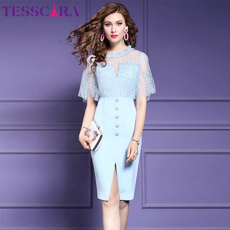 TESSCARA Women Summer Elegant Blue Mesh Dress Female Office Lady Party Robe Femme Beading Designer High Quality Pencil Vestidos