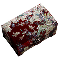 Hand Made Abalone Shell linlaid Mosaic Jewelry Box Storage Lacquerware Lacquer Arts with Lock 18.2 x 11.2 x 8.6cm Wedding Gift
