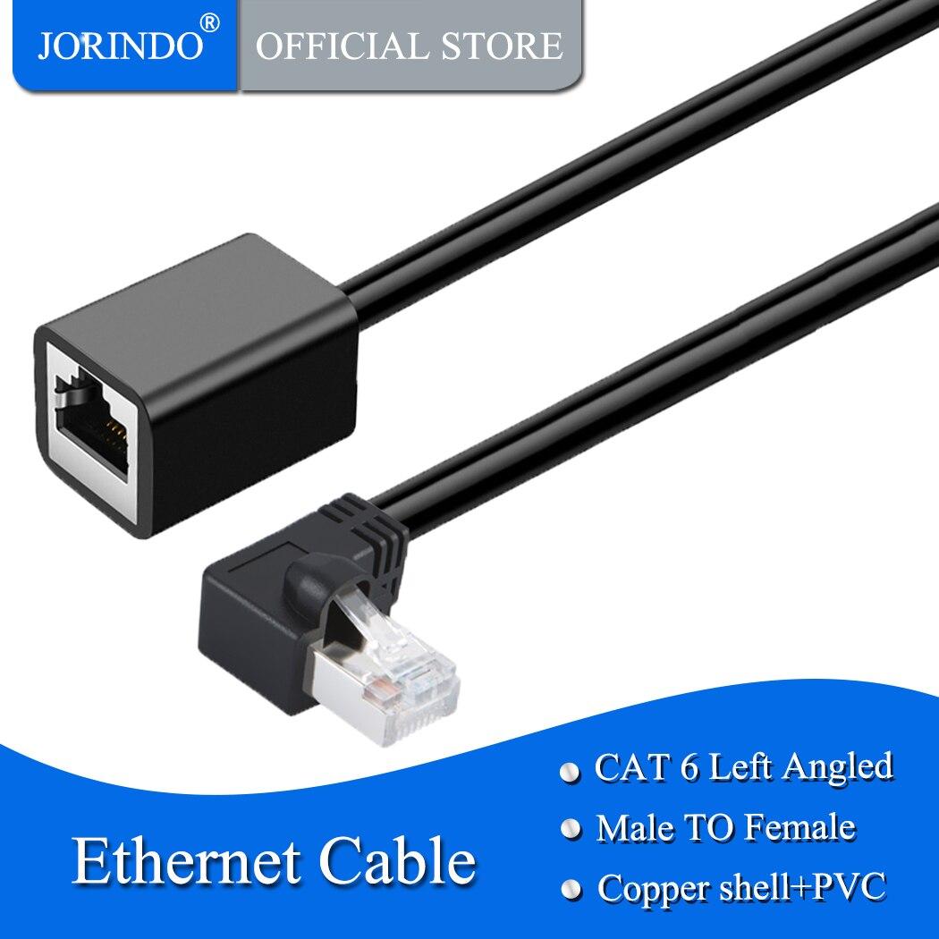 Cable de extensión blindado JORINDO Cat6, ángulo izquierdo macho/hembra, Cable de parche de cordón de Ethernet FTP Cat6, contacto chapado en oro, 0,5 m