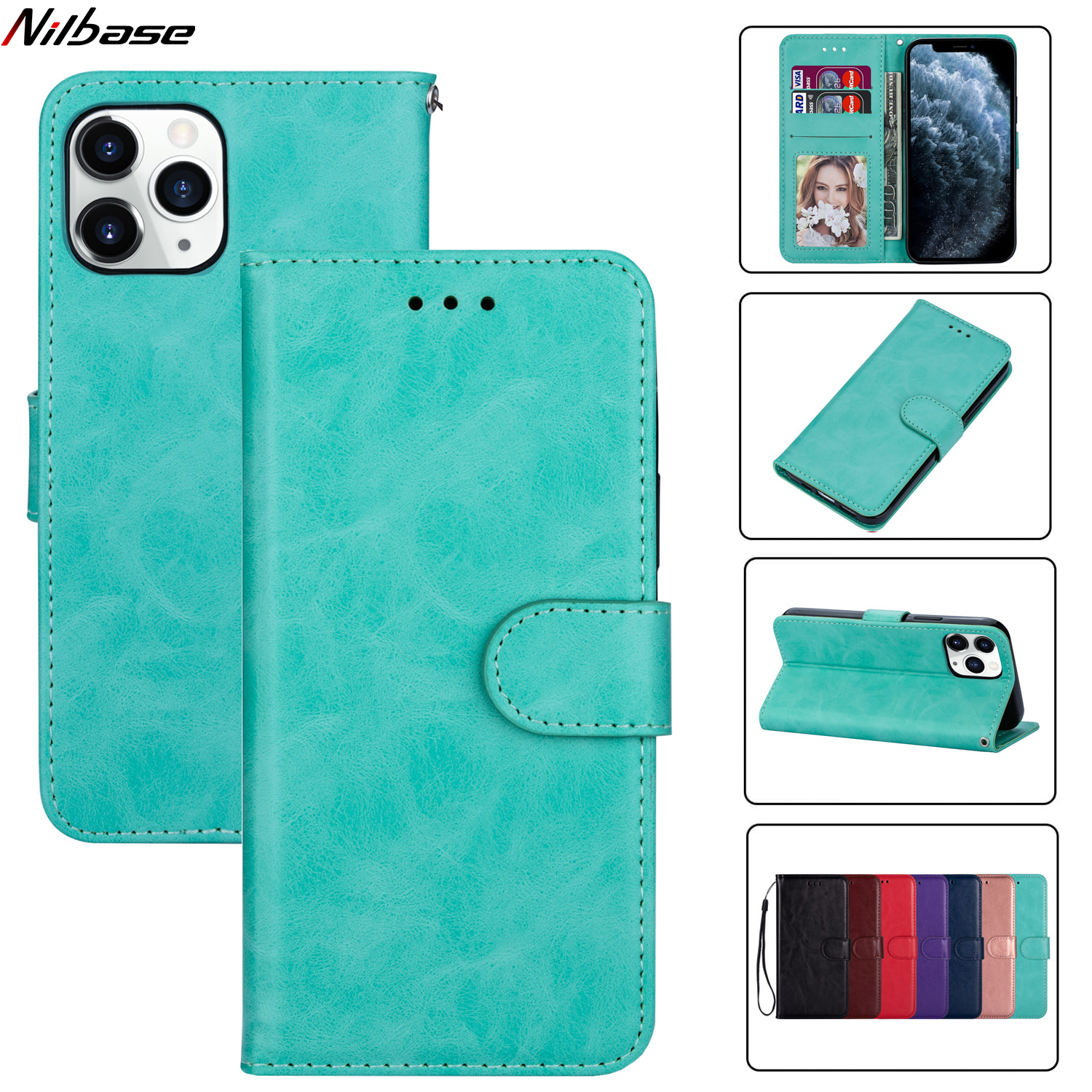 Luxury Leather Case For iPhone 12 Mini 11 Pro Max X XS XR 8 7 6 6s Plus 5 SE 2020 Wallet Flip Plain Card Stand Phone Cover Coque