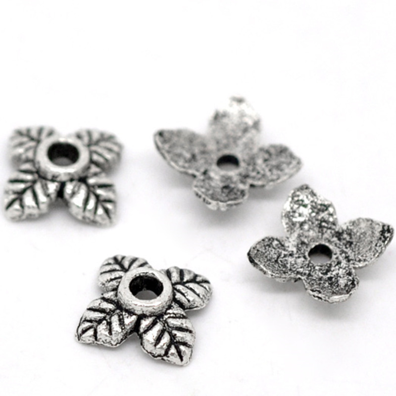 DoreenBeads 70PCs Ornate 4Petal Leaves Beads End Caps Jewelry DIY Findings Charms For Women Accessories Components 6mm * 6mm