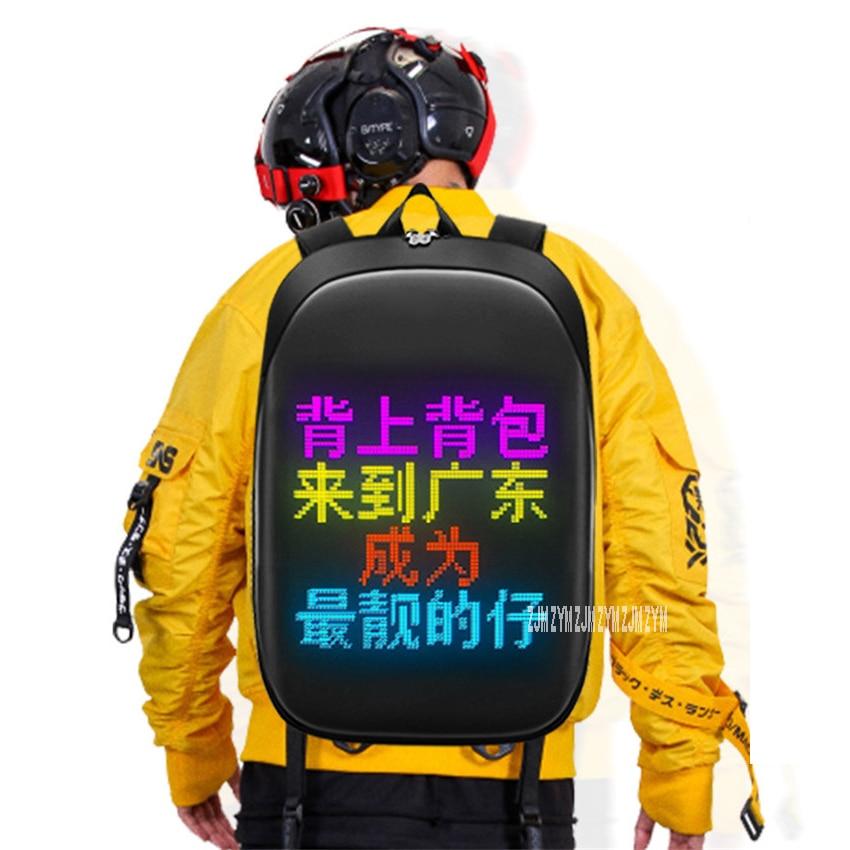 008 Waterproof Polyester App Control Dynamic Led Walking Billboard Shoulders Bag Smart Led Display Screen Advertising Backpack